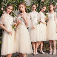Bridesmaid dress temperament 2019 new summer sister group long paragraph vibrato graduation dress skirt female thin cover arm