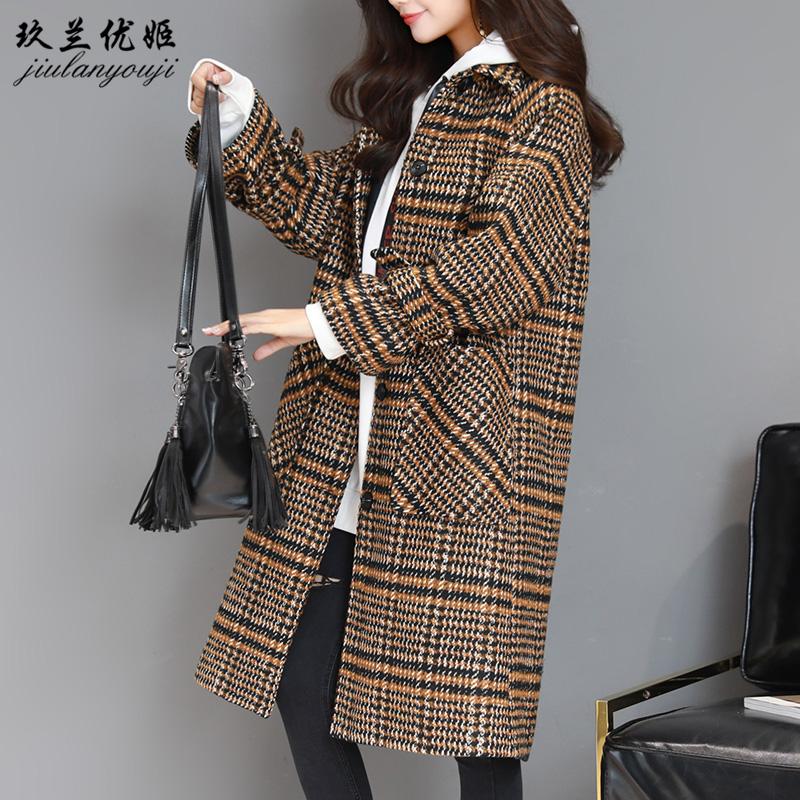 韩版西装领中长款粗毛呢大衣