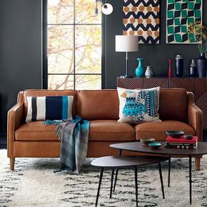 美式乡村复古真皮沙发整装三人小户型LOFT客厅公寓油蜡皮沙发组合