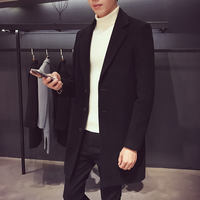 Winter Korean Slim Men's Solid Color Long Windbreaker Student Wild Woolen Coat British Wool Coat