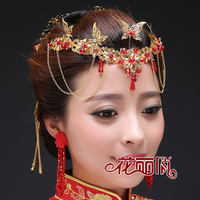 Bridal jewelry ancient costume phoenix headdress show Wo kimono national wind golden red flow comb pendant stepping hairpin