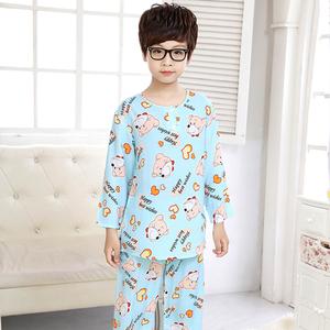 男童儿童睡衣绵绸夏季纯棉绸宝宝小男孩空调家居服套装中大童薄款