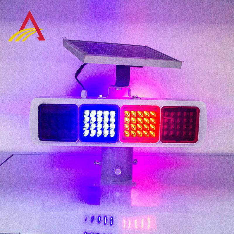 太阳能爆闪灯道路施工灯红蓝双面路障交通太阳能黄闪灯LED警示灯