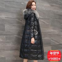 真皮羽绒服女中长款2017新款狐狸毛领修身显瘦海宁绵羊皮皮衣外套