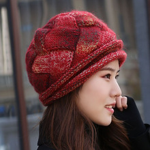 Hat, woman, autumn and winter, thickening, velvet, knitted hat, wool cap, lady's wool cap, mohair hat, Baotou hat.