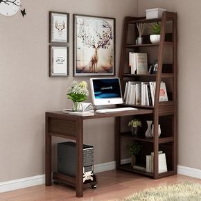 实木书桌书架组合写字桌现代小户型书台电脑桌书柜书桌一体家具