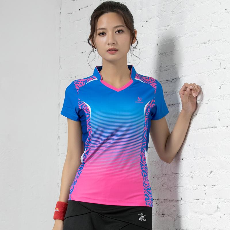 团购竞迈新款羽毛球服女款速干网球服运动上衣短袖透气羽毛球衣服