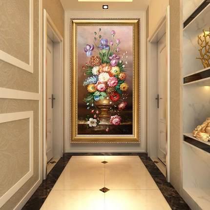 欧式玄关钻石画花卉满钻客厅竖版过道砖石画贴钻十字绣新款牡丹花