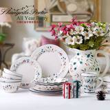 European-style household ceramics tableware set bowls, dishes, moving gifts creative 8 pieces 12 pieces of hand-painted pastoral paintings