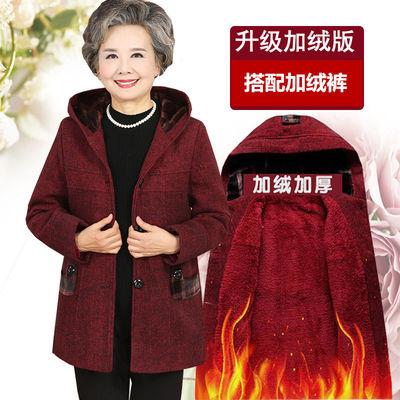 中老年女装妈妈装春装毛呢外套奶奶装大码上衣老人唐装连帽春秋款