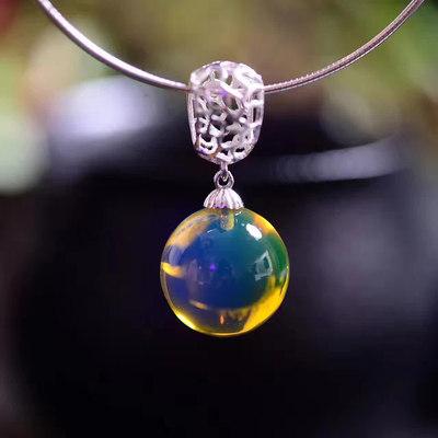 纯天然精品多米尼加5A净水蓝珀吊坠锁骨链 蜜蜡琥珀原石925银项链