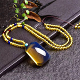 Natural Dominican Blue Polo Pendant Nothing Sweater Chain Original Mine Beeswax Amber Necklace for Men and Women