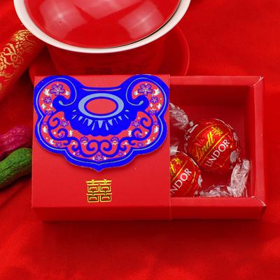 瑞士莲巧克力喜糖成品 2粒礼盒装 如意套封婚礼糖盒含糖 活动礼物