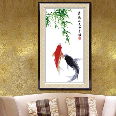 印花十字绣客厅鱼年年有余鱼简单易绣款小幅新款客厅卧室书房系列价格
