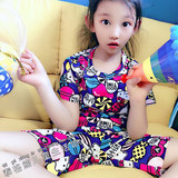 Men and women children pajamas summer thin section parent-child bag pajamas cotton short-sleeved air-conditioning suit princess baby home service