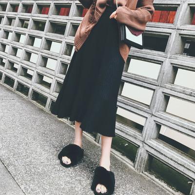 天天特价秋冬新韩版毛线针织a字裙中长款高腰裙子百褶半身长裙女