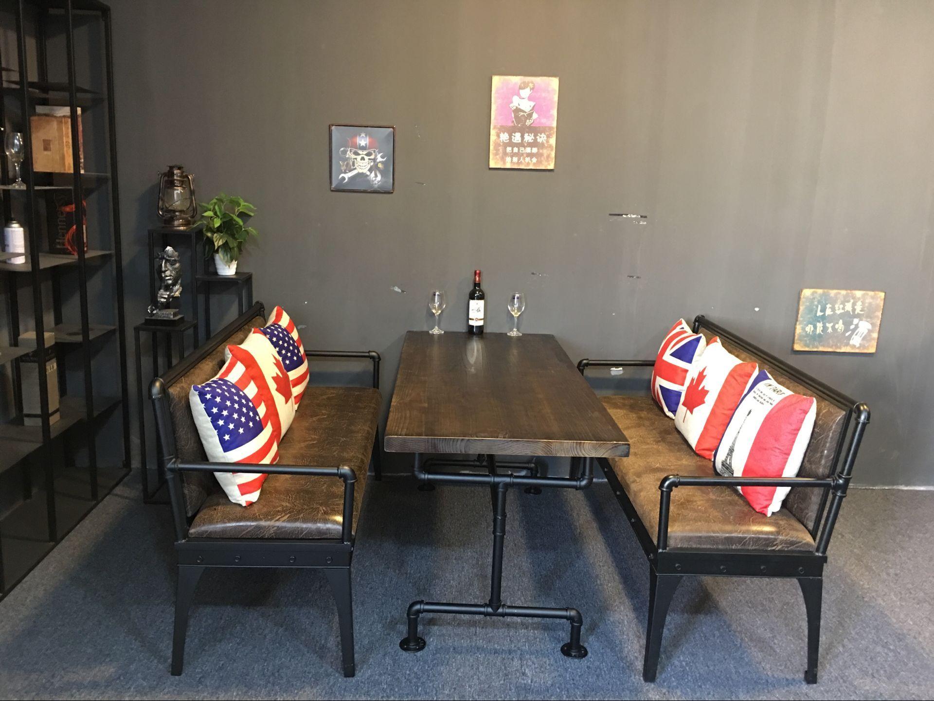 做旧餐厅卡座沙发桌椅