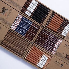 和风四季手工铁木筷尖筷鸡翅木筷料理筷樱花红木筷子家用实木礼盒