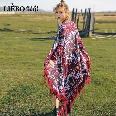 裂帛2018秋季新款流苏提花长袖民族风宽松外披女士中长款针织开衫
