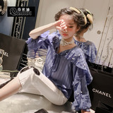 Chimidi 2019 spring new girls striped chiffon shirt in the big boy loose lazy windy shirt