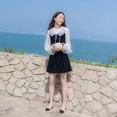 2018春装新款韩版女装修身长袖丝绒鱼尾两件套连衣裙套装裙裙子