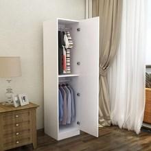 单门衣柜实木简约置物木质板式单人柜子单开上下门挂衣柜衣橱