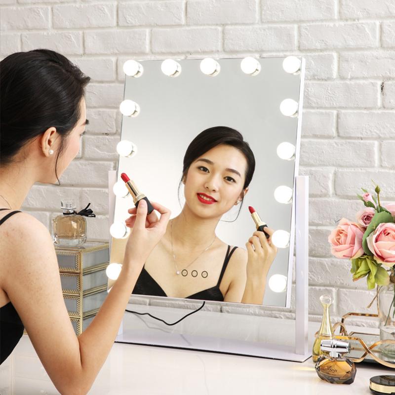 米卡 大号台式化妆镜led带灯泡梳妆镜直播美颜补妆补光美容镜子