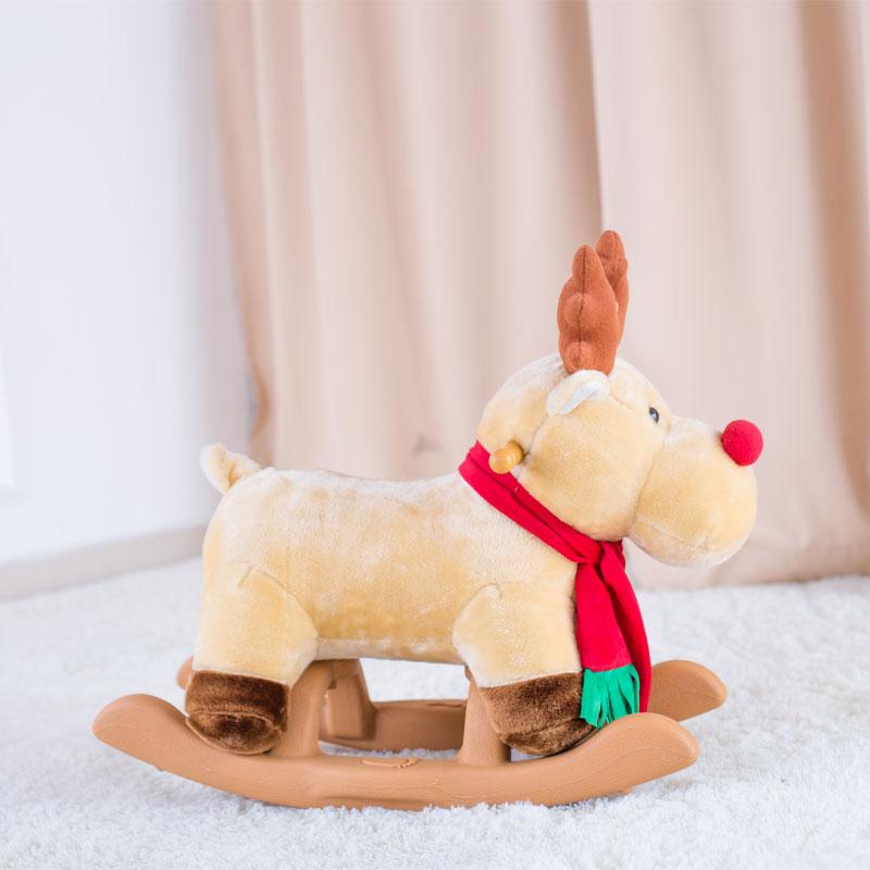 麋鹿毛绒小木马实木带音乐玩具摇摇马儿童摇马1-4岁宝宝生日礼物
