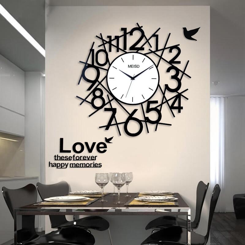 美世达静音挂钟客厅创意时钟艺术钟表 现代时尚装饰简约数字挂表