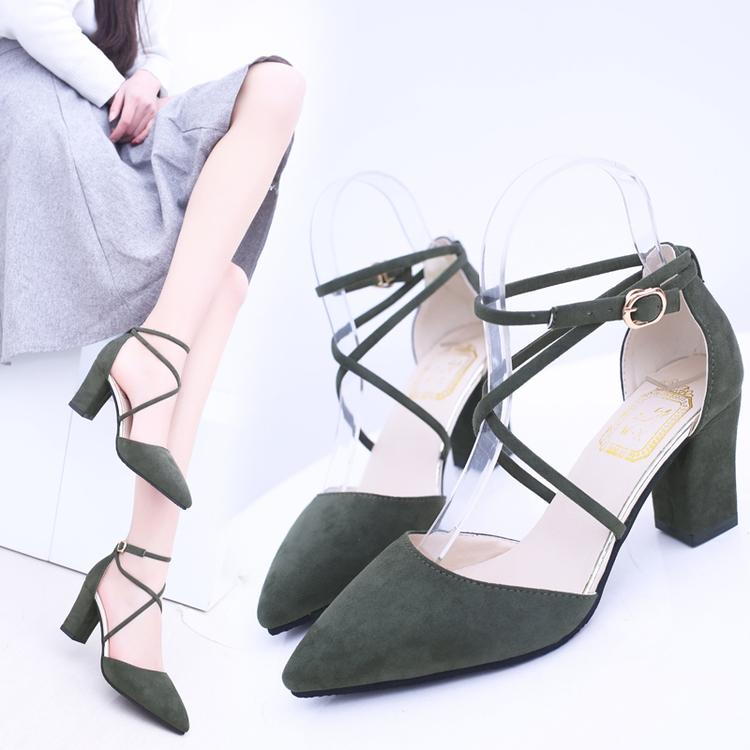 2017夏季新款凉鞋女粗跟绒面单鞋高跟鞋尖头中跟交叉绑带罗马女鞋