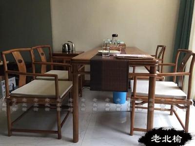 新中式简单茶桌禅意家具免漆老榆木实木黑胡桃仿古餐桌椅组合旗舰店