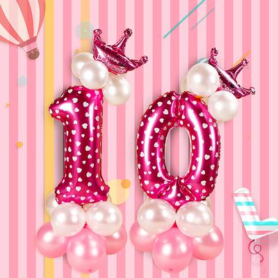 宝宝周岁百天数字气球装饰路引儿童生日派对布置卡通字母气球立柱