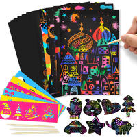 Colorful scratching paper children's package 100 graffiti a4 scratching painting manual DIY production creative color sand painting