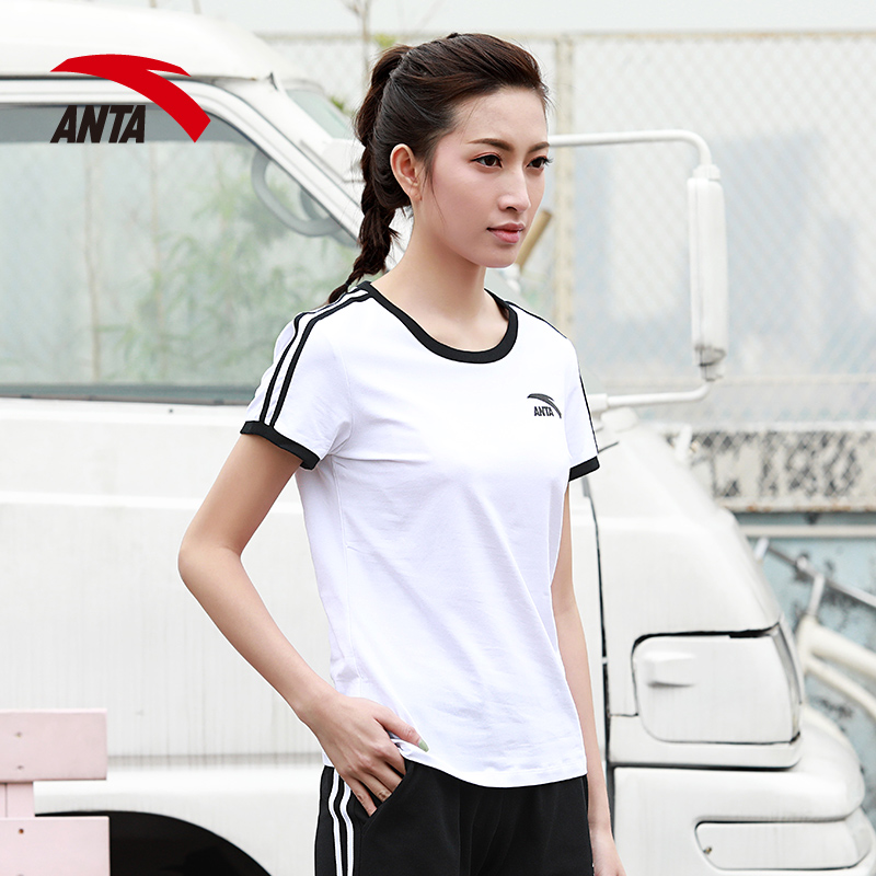 安踏短袖女t恤2019新款夏季运动女装官网修身休闲体恤圆领半袖T恤