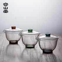 容山堂 玻璃盖碗 大号加厚耐热透明公道杯三才茶碗 功夫茶具 配件