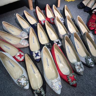 2018年秋季尖头水钻方扣高跟鞋伴娘婚鞋5cm中跟女鞋低跟浅口单鞋
