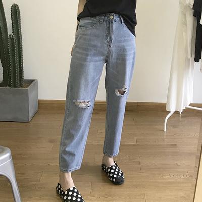 夏季薄款牛仔褲女網紅同款九分褲冰絲老爹哈倫褲破洞寬松女褲顯瘦