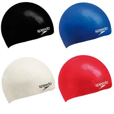 代购 Speedo速比涛游泳帽 黑白色红蓝色平坦的硅胶帽07-993-0000