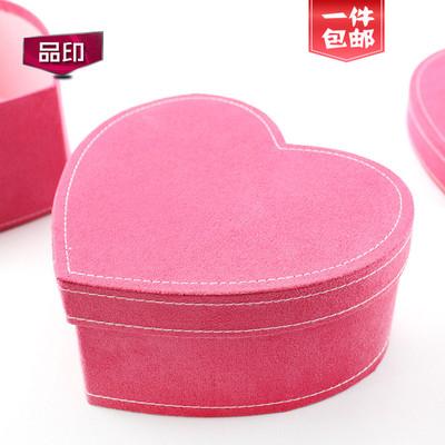 礼品盒礼物盒包装盒 首饰盒玫瑰永生花 生日绒布面料亮粉心形盒