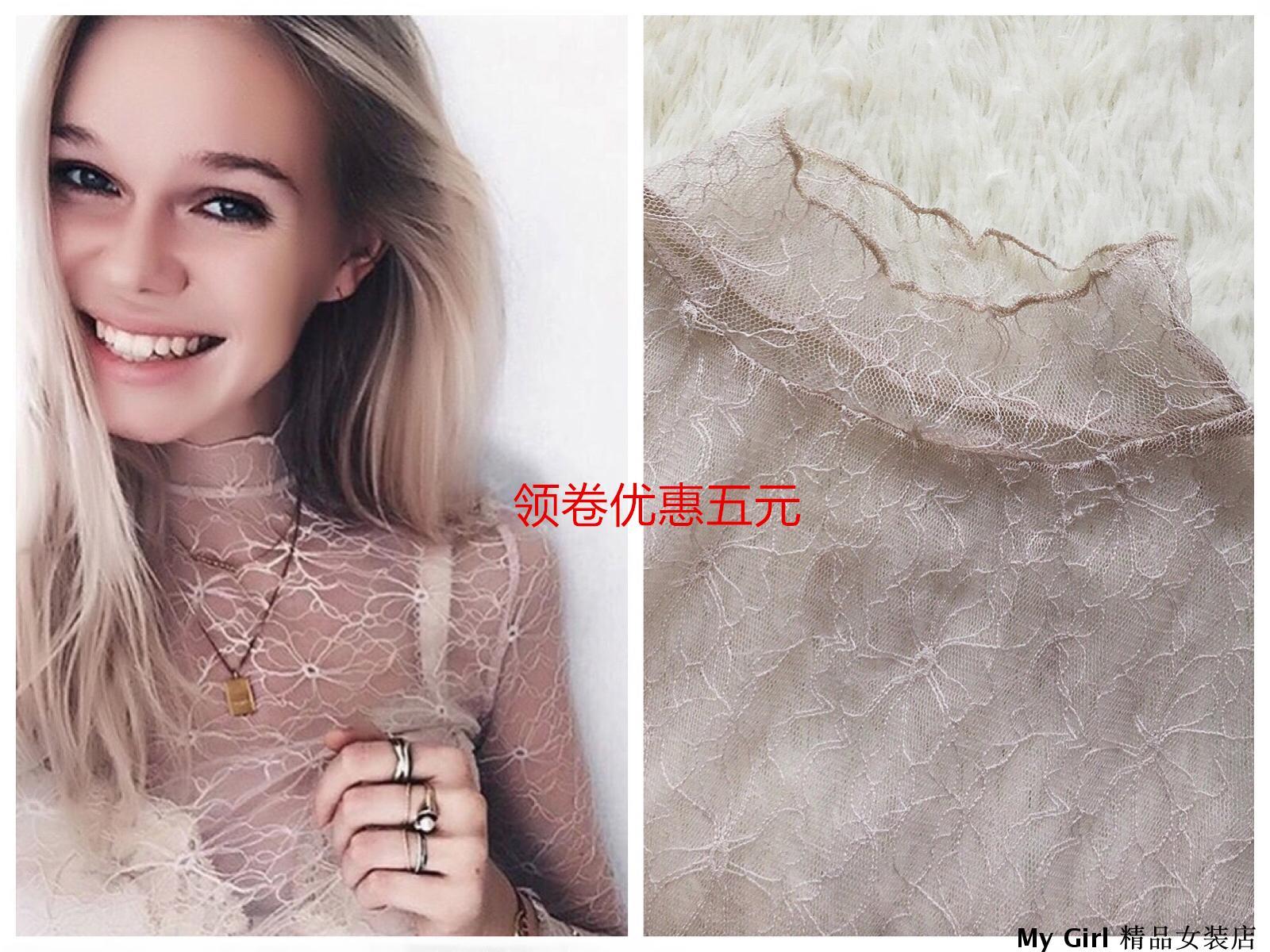高领蕾丝衫修身蕾丝上衣潮