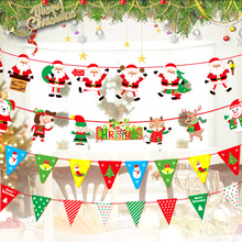 Christmas Flag-pulling Decorations Santa Triangle Flag Paper Flower-pulling Hanging Shop Scene Layout Projects