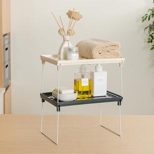 纳川桌面可叠加置物架厨房办公桌收纳整理架浴室储物架折叠收纳架