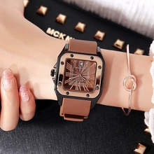 Ms. GUOU Watch Retro Durable Silica Strap Calendar Watch Trendy Square Fashion Waterproof Quartz Watchgirl