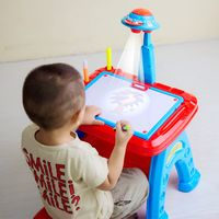 Children's drawing table projection painting Linyi Taiwan baby drawing board magnetic 1-3 years old graffiti board erasable educational toys