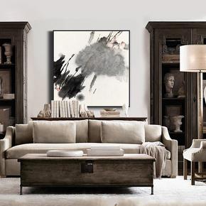 非鱼现代新中式禅意国画玄关荷花巨幅装饰画书房客厅水墨抽象挂画