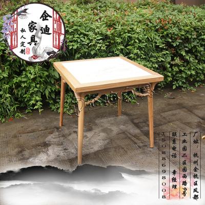 中式四方桌大理石台面中餐馆怀旧实木餐桌 定制民宿家具仿古桌椅价格