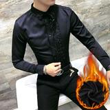 秋冬蕾丝拼接加绒衬衫男长袖2017新款修身黑色保暖花衬衣潮流寸衫
