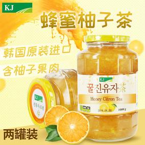 韩国KJ蜂蜜柚子茶原装进口蜜炼水果茶1kg果汁冲饮2件装 包邮