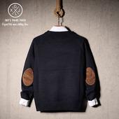 日系复古名族风纯色情侣针织衫男女韩版修身文艺补丁贴布套头毛衣