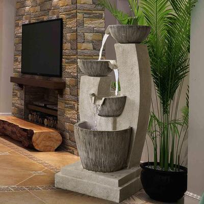 田园假山室内喷泉流水客厅阳台水景加湿器摆设美式现代简约风水轮